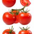 Vector collection of red ripe tomatoes with water drops. — Stock Vector #11521869