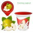 Background for design of packing yoghurt with photo-realistic vector of green apple — Stock Vector