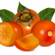 Persimmon with leaves. — Stock Vector #11522288