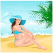 Royalty-Free Stock Vector Image: Girl on the beach.