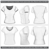 Women's t-shirt design template (front, back and side view). — Stock Vector