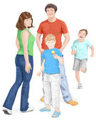 Happy family: mum, dad and sons. — Stock Vector