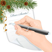 Child's hand writing letter to Santa Claus. — Stock Vector