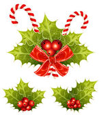Christmas holly with candy canes and red bow. vector illustration — Stock Vector