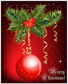 Christmas decoration: holly with berries and christmas ball on red background. — ストックベクタ