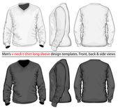 Men's V-neck long sleeve t-shirt design template — Stock Vector