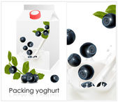 Background for design of packing yoghurt with photo-realistic vector of blueberry. — Stock Vector