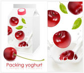 Background for design of packing yoghurt with photo-realistic vector of cherry. — Stock Vector