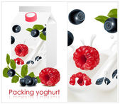 Background for design of packing yoghurt with photo-realistic vector of forest berries. — Stock Vector