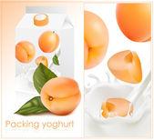 Ripe apricots falling into the milky splash. — Stock Vector