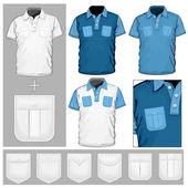 Design mall-pikétröja med fickor. — Stockvektor