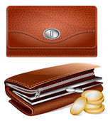 Vector wallet and coins — Stock Vector