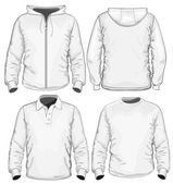 Men's polo-shirt, t-shirt and sweatshirt (long sleeve) design template — Cтоковый вектор