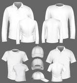 T-shirt, camisa pólo e modelo de design de moletom do vetor. — Vetorial Stock