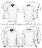 Plantilla de diseño de camiseta y camisa de polo — Vector de stock