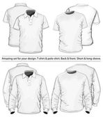Polo-shirt en t-shirt ontwerpsjabloon — Stockvector