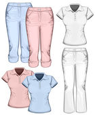 Women's trouser jeans and polo-shirt design templates. — Stok Vektör