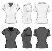 Women's polo-shirt design template (front, back and side view). — Cтоковый вектор
