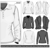 Women's polo-shirt design template (front, back and side view). — Vetorial Stock