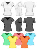 Women's polo-shirt design template (front, back and side view). — Stock Vector