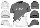 мужская футболка шаблон и бейсболки — Cтоковый вектор