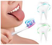 Dental concept. Kid brushing teeth. — Stock Vector
