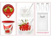 Elementy projektowania opakowań mleczarnia mleko — Wektor stockowy