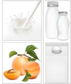 Elements for design of packing milk dairy. Milky splash. Ripe apricots. — Stock Vector