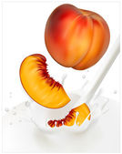Ripe peaches falling into the milky splash. — Stock Vector