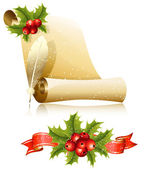 Paper scroll with feather and Christmas holly. — Stock Vector