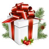 Białe pudełko z czerwoną wstążką i łuk — Wektor stockowy