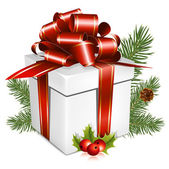Boîte blanche avec ruban rouge et archet — Vecteur