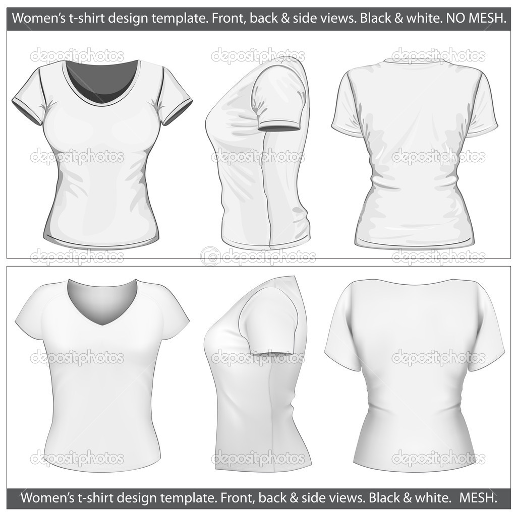 womens t shirt design template front back and side view