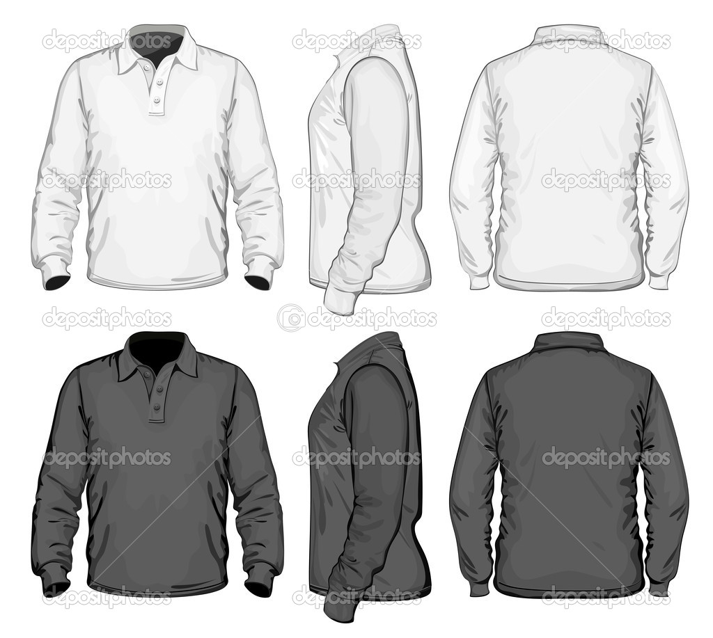 Polo shirt design vector - Men S Polo Shirt Design Template Front Back And Side View Long Sleeve No Mesh Vector By Ivelly