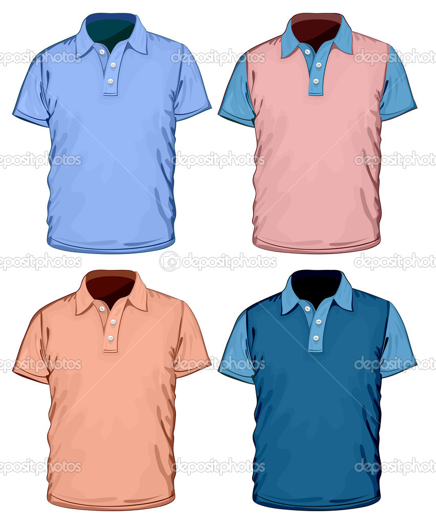 Shirt design illustrator template - Men S Color Polo Shirt Design Template Vector By Ivelly