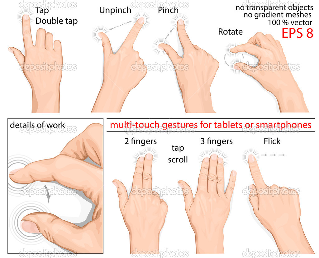 Vector set of commonly used multitouch gestures for tablets or smartphone. no mesh. — Stock Vector #11521622
