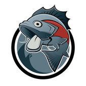Cartoon fish sign — Stock Vector