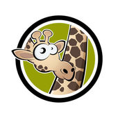 Cartoon giraffe in een badge — Stockvector