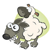 Funny wolf in sheep's clothing — Stock Vector