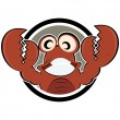 Stock Vector: Funny cartoon crab