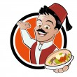 Funny doner food cartoon - Stock Vector