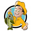Stockvektor : Funny cartoon fisherman