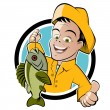 Funny cartoon fisherman — Vector de stock #11933907