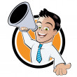 Funny megaphone man — Stock Vector #11933935