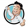 Stock Vector: Funny cartoon doctor