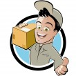 Funny parcel service cartoon - Stock Vector