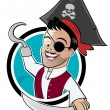 Funny cartoon pirate — Stock Vector