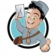 Funny cartoon postman - Stock Vector
