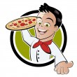 Stock Vector: Pizza boy cartoon
