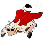 Funny superhero cow — Stock Vector